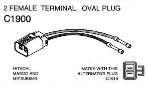 part c1900 hitachi mando and mitsubishi alternator repair plug part c1900 hitachi mando and mitsubishi alternator wiring repair plug female alternator wiring harness repair connector 2 female terminals