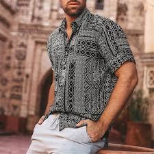 Casual Hawaiian Shirt <b>Mens Summer New</b> Fancy Printed Beach ...