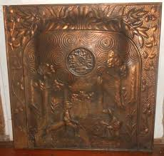 rare antique arts crafts aesthetic era hammered copper tin fireplace screen