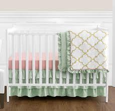 sweet jojo designs perless c mint gold baby girls 4pc crib bedding set
