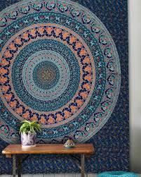 large blue birds bohemian mandala wall tapestry wall hanging