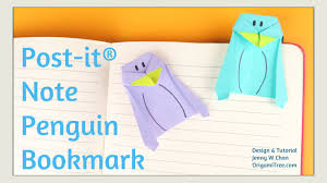 origami bookmark origami penguin bookmark post it note crafts easy paper crafts for kids you