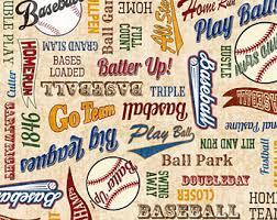 Baseball fabric   Etsy & Baseball Words on Cream Fabric / Baseball Fabric / Quilting Treasures 24911  - E / Grand Adamdwight.com