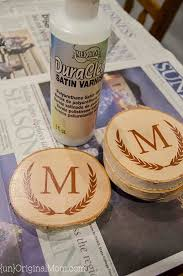 diy painted wood slice coasters cut a vinyl stencil or a pre made