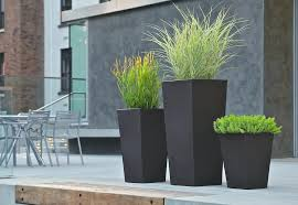 tall flower pots outdoor and patio two black tall planters with wooden modern for tall plant pots uk