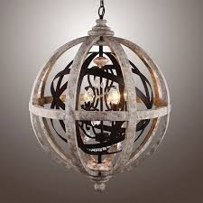 globe orb chandelier farmhouse pendant ceiling light crystal chain drops rustic vintage wood steel frame
