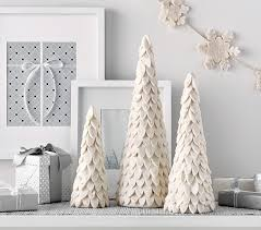 ivory felted wool cone tree decor