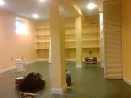 image of painting unfinished basement concrete walls