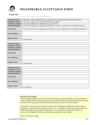 Deliverables Template Deliverable Acceptance Form