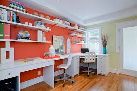 open white shelves and desks add to the impact of orange in the home office burnt red home office