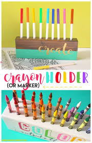 crayon and marker holder a girl and a glue diy