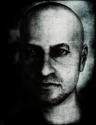 man painting male portrait black and white by maynard ellis
