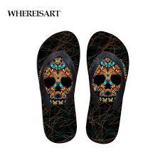 <b>WHEREISART</b> Black Rubber Flip Flops For Women Skull Slippers ...