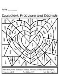 Equivalent fractions, Fractions worksheets and Fractions on PinterestValentine's Day Equivalent Fractions and Decimals Activity - holiday fun and great math practice for big