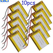 XINJ 10 Chiếc 3.7V 1000MAh Polymer Lý Lithium Pin Lipo Cell 523450 Cho Máy  Ảnh Sách Điện Tử Lái Xe Điện Thoại Đồng Hồ máy Tính Bảng|Replacement  Batteries