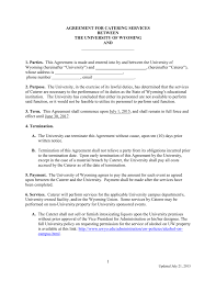 Catering Agreement To A Blank University Of Wyoming Catering Agreement