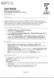 Sap Abap Resume Sample Sap Resume Sample As Image Le Sap Mm Fresher