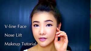 v line shape face korean idol makeup tutorial