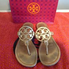 details about tory burch miller sandal metallic leather gold 8m 198