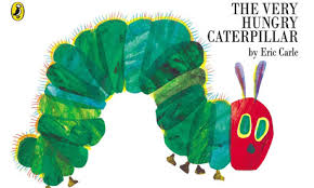 the cover of the hungry caterpillar has a great use of textures and looks as if the book cover was painted making good use out of negative e