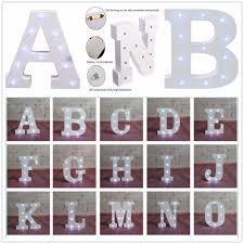 Alphabet Letter Lights Led Light Up White Wooden Letters Family
