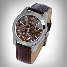 watchesandgifts com luxury watches page 1 louis bolle gents crevasse automatic retrograde power reserve brown leather strap brown dial