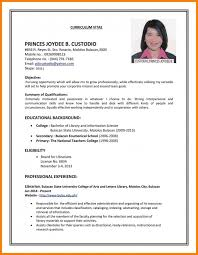 Sample Curriculum Vitae For Job Application 15 Curriculum Vitae Format For Job Application Teacher Proposal