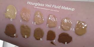 hourgl veil fluid foundation review swatches of shades