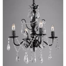 contemporary 4 light black iron and crystal chandelier