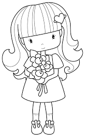 Small Picture flower girl cute line drawing Shadow Stencil People