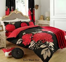 3pc kew black red king size bedding bed duvet cover quilt set with pillowcases co uk kitchen home