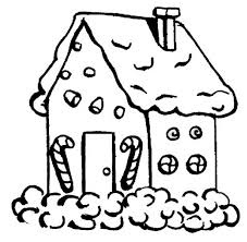 Small Picture Gingerbread House with Candy Cane in Front Coloring Page NetArt