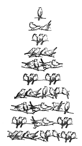 Vintage christmas clip art bird tree