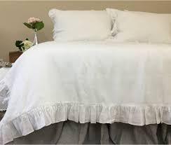 white ruffle duvet cover handmade in