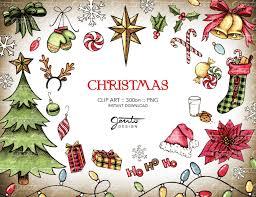 Weihnachten Aquarell Clip Art Set Ornamente Weihnachtsstern Zuckerstange Buffalo Check Plaid Strümpfe Nikolausmütze Schneeflocken 300dpi Png