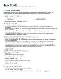 Resume Sample With Objective