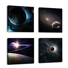 natural art outer space planet painting canvas prints wall decoration wooden frame 4pcs set on natural wood art wall decor with amazon natural art outer space planet painting canvas prints