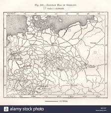 Railway Map Of Germany Sketch Map 1885 Old Antique Vintage