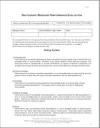 Restaurant Employee Performance Review One Page Employee Evaluation Form Awesome Monthly