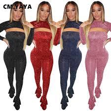 CM.YAYA Winter Fall Women's Set Crop Top <b>Bodycon Strapless</b> ...