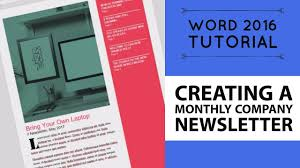 Newsletter In Word Creating A Monthly Company Newsletter Word 2016 Tutorial 11 52