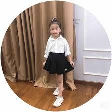 Sét áo sơ mi trắng và chân váy cực xinh cho bé gái 10-20kg