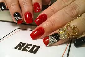 Most Phenomenal Red And Black Nails With Crystal Design | Picsmine
