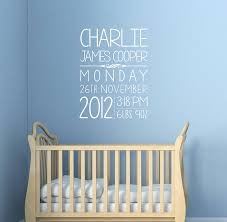 personalised baby details wall sticker