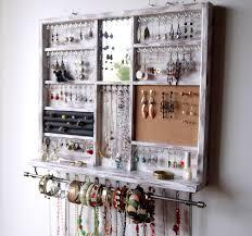Wall Jewelry Organizer Jewelry Holder Large Earrings Display Shelf White Jewelry