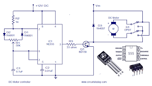dc motor speed controller circuit using ne555 dc motor control circuit diagram