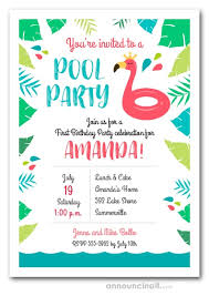Birthday Party Evites Flamingo Float Pool Party Birthday Invitations