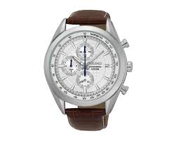 seiko men s hand watch chronograph brown leather strap white dial and 100m water resistant ssb181p1