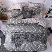 single size grey geometric bedding set