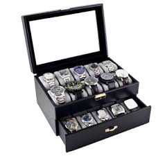 caddy bay collection black leatherette 20 watch storage box case caddy bay collection black leatherette 20 watch storage box case by caddy bay collection